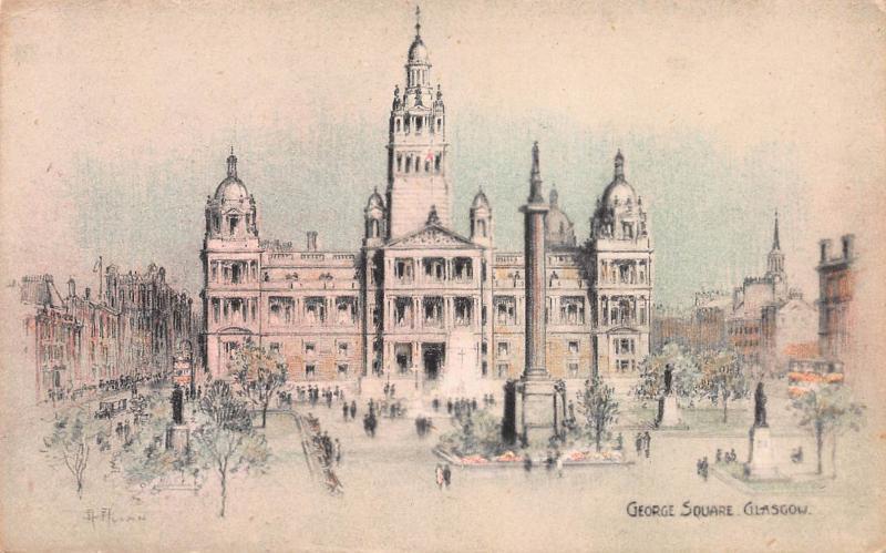 George Square, Glasgow, Scotland, Early Postcard, Unused