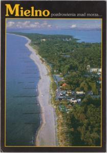 Mielno, Poland, aerial view, used Postcard