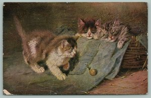 Artist Stacks~Cats~Three Kittens Awake To See Snail On Their Rug~Basket Of Straw