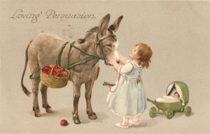 Little girl caressing donkey. Loving Persuasion Nice old vintage English PC