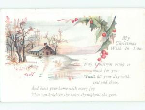 Divided-Back CHRISTMAS SCENE Great Postcard W9436