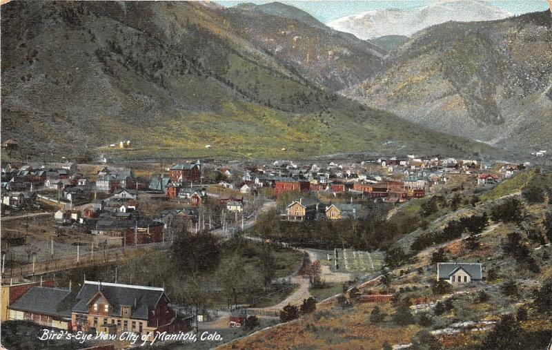 Manitou Colorado~Bird's Eye View of City~Mountains in Distance~c1910 Postcard