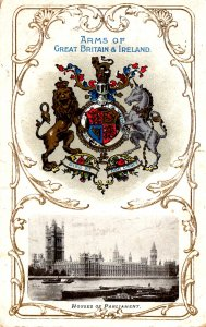 London, England - Arms of Great Britain & Ireland - Houses of Parliament - c1908
