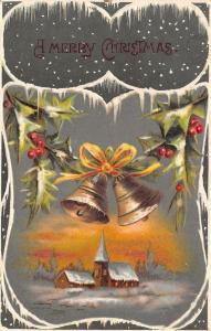 Christmas~Bells Over Twilight Church~Icicle Art Nouveau~Hunter Green Back~IPCC