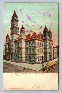 Baltimore MD-Maryland, US Post Office Building, Trolley, Vintage c1907 Postcard