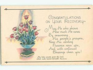 Unused Pre-1907 religious PSALMS BIBLE QUOTE - FLOWERS IN BOWL WITH BIBLE J3666