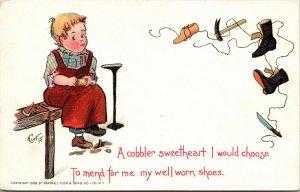 Curtis Artist Signed Valentine Postcard Cobbler Child w/ Shoes - Tuck - ca 1906