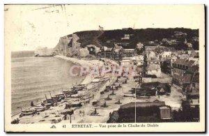 Old Postcard View Etretat Taking Bell Devil