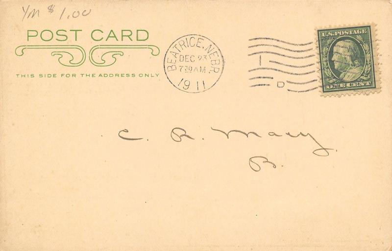 Beatrice NE 1st National Bank, 1st Savings Bank Christmas Greetings Postal 1911