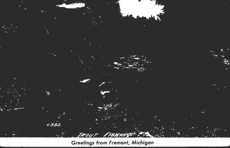 Michigan Greetings From Fremont Trout Fishing 1952 Real Photo