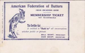 Vintage Arcade Card American Federation Of Butters Membership Ticket