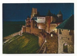 France Cite de Carcassonne Chateau Comtal Fort Citadel Night Vtg 4X6 Postcard