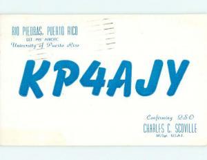 1957 vintage QSL HAM RADIO CARD Rio Piedras t1851