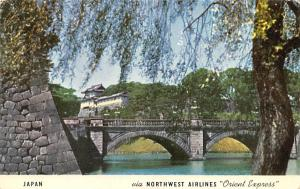 Japan Old Vintage Antique Post Card Nijubashi Bridge, Main Gate of Imperial P...