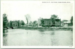 Three Rivers, Michigan Postcard Scene on St. Joe River Buildings Bridge c1940s
