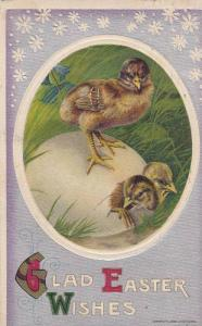 Glad Easter Wishes, Chick standing on egg with two chicks cracking out, PU-1911