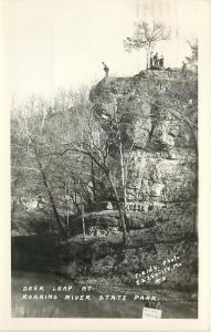 Cassville Missouri~Folks on Top~Deer Leap at Roaring River State Park~1952 RPPC