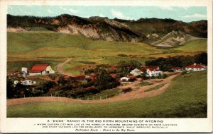 PPC POSTCARD WYOMING BURLINGTON ROUTE DUDE RANCH IN BIG HORN MOUNTAINS