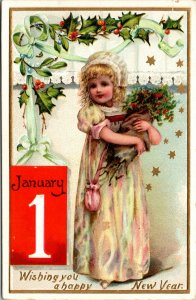 Wishing You A Happy New Year - TUCK - Child Flowers - Vintage - POSTCARD PC