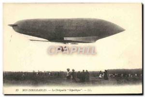 Old Postcard Zeppelin Airship Republic