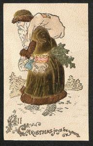 All Christmas Joy Brown Robed Santa Claus Trudging Thru The Snow Postcard