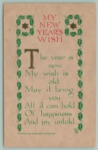 PF Volland New Year~Year is New~Wish is Old~Embossed Green Leaves & Stars~1911