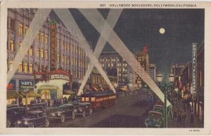 HOLLYWOOD BOULEVARD view - 1930s era / HOLLYWOOD CALIFORNIA - Trolleys +