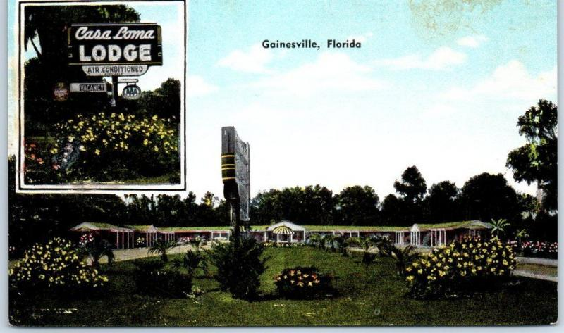 Gainesville, Florida Postcard CASA LOMA LODGE Motel Roadside KROPP Linen Unused