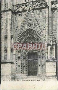 Old Postcard The Cathedral Quimper South Portal
