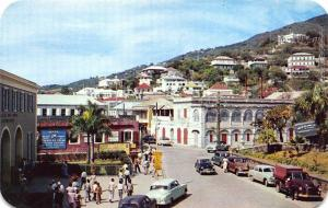 St Thomas U. S. Virgin Islands Charlotte Amalie Street Old Cars Postcard