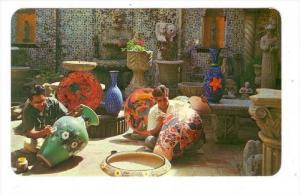Hand-Painting Pottery In Tlaquepaque, Mexico, 1940-1960s