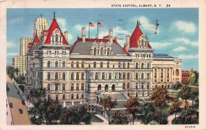 State Capitol, Albany, New York, Early Linen Postcard, Used in 1935