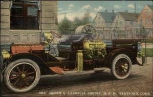Hartford CT Squad A Chemical Engine Truck Fire Dept c1910 Postcard