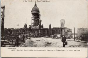 City Hall San Francisco CA Destroyed by Earthquake c1906 Hodson Postcard E52