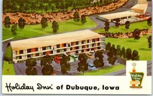 Dubuque, Iowa Postcard HOLIDAY INN Artist's View Route 20 Roadside c1960s Unused