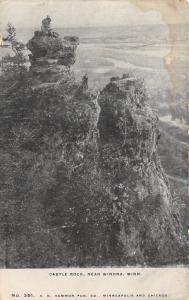 Winona Minnesota~Castle Rock~Men on Top of Tallest Rocks~c1905 B&W Postcard