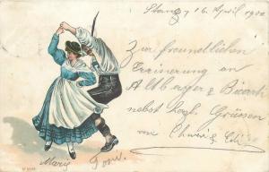 Switzerland 1900 vintage chromo litho postcard folklore costumes dance dancers