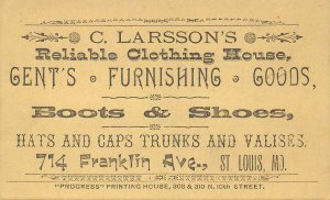 TC89 C. Larsson's Reliable Clothing, Boots, Shoes, St. Louis Missouri Trade Card