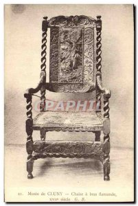 Old Postcard Musee Cluny Flemish chair has arms