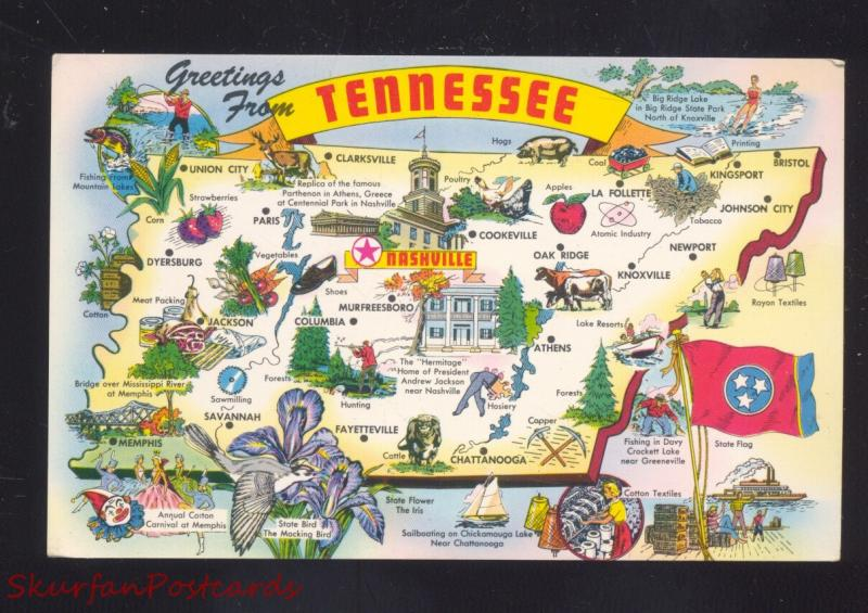 GREETINGS FROM TENNESSEE STATE MAP VINTAGE POSTCARD