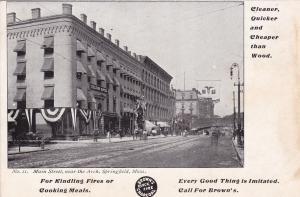 SPRINGFIELD, Massachusetts, Pre 1907, Main Street Near The Arch