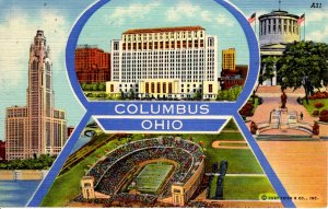 Columbus, Ohio - 4 views of the City - in 1949