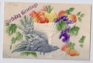 Birthday Greetings Airbrushed Dove Fruit Bowl Vintage Embossed Postcard
