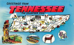 LPM25 Tennessee Map Chrome Postcard The Volunteer State
