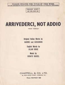 Arrivederci Not Addio Proof Copy Enrico Olde Sheet Music