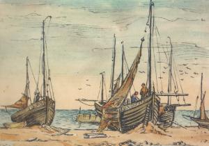 Hastings Luggers Fishermen Fishing Ship Ships Painting Postcard