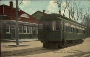 Johnstown NY Trolley Car & Station Closeup c1910 Postcard