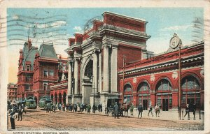 Postcard 1922 North Station with People Trolly Cars, Boston, Massachusetts ME9.