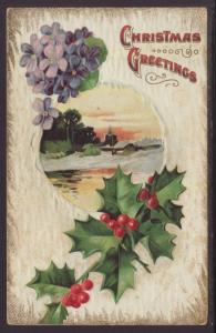 Christmas Greetings,Holly,Scene Postcard