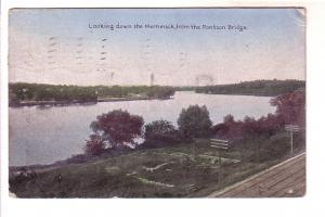 Looking Down Merrimack from Pontoon Bridge, Train Tracks, Massachusetts, Hand...
